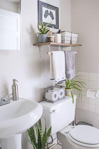Decoração de banheiro com prateleira e plantas
