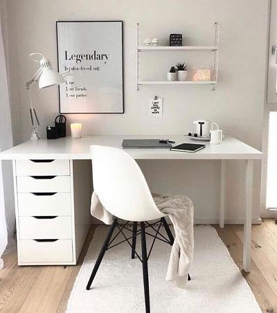 Trabalhar em casa: decoração home office branco com cadeira eames