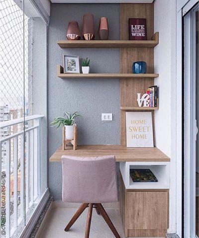 decoração home office na varanda pequena
