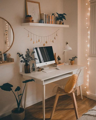 Decoração home office boho chic
