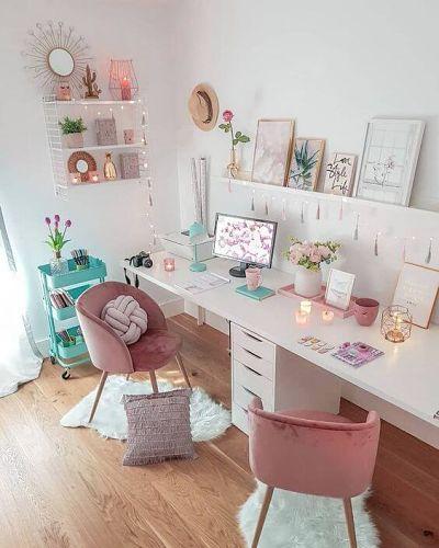 decoração home office feminino com mesa branca