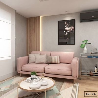 Sala com sofá rosa quartzo