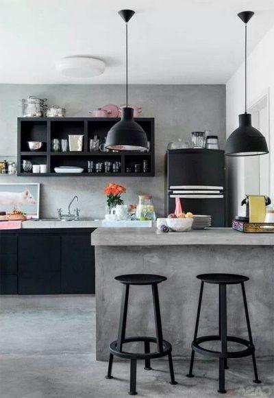 Bancada cimento queimado em cozinha estilo industral