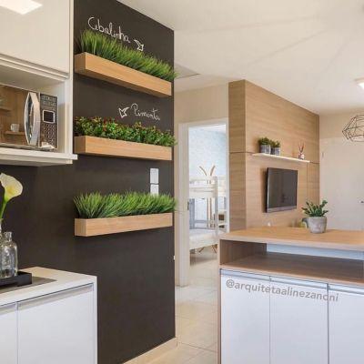 Horta na cozinha - decoração com plantas