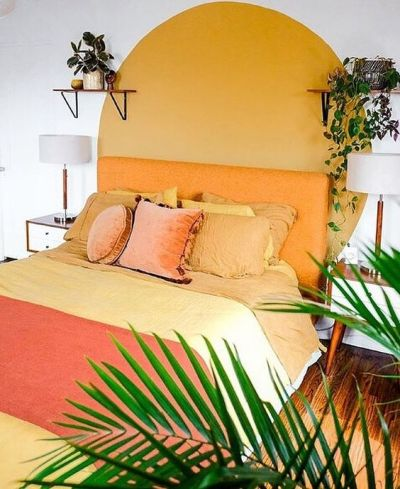 Tons de amarelo na sala - Pintura de parede criativa