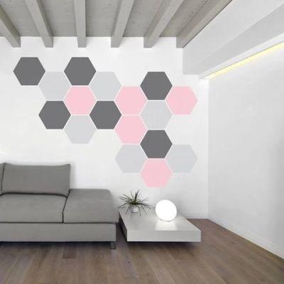 Pintura criativa hexagonal na sala