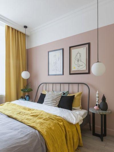 Pintura de parede rosa no quarto