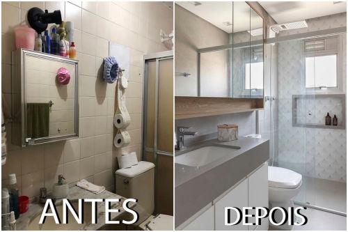 Antes e depois de reforma de banheiro pequeno