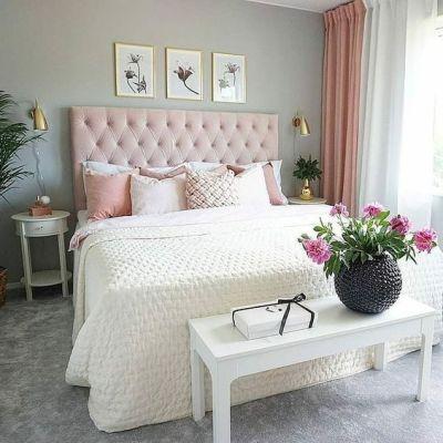 cabeceira de cama estofada rosa