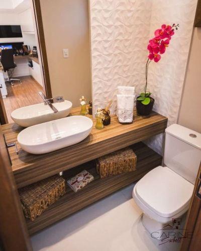 Cuba para banheiro pequeno oval e bancada de madeira