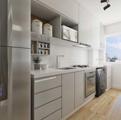 Cozinha pequena planejada simples e pequena e integrada