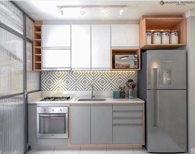 cozinha planejada pequena cinza e branca