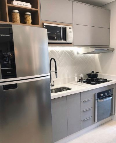 cozinha planejada cinza