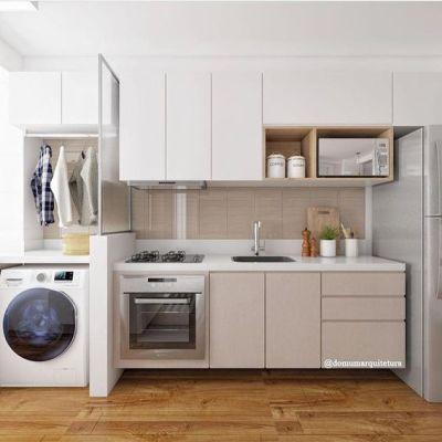Cozinha Planejada Simples com Lavanderia