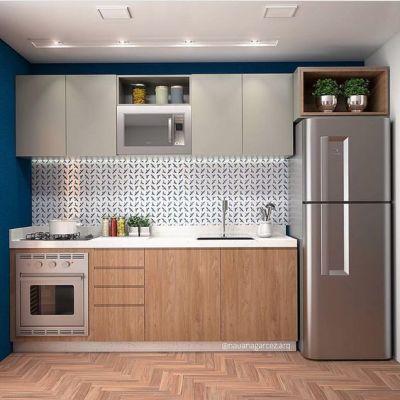 Cozinha Planejada pequena e Simples com Lavanderia com cooktop e forno de embutir.