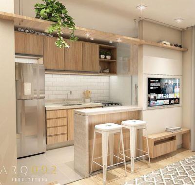 Cozinha americana pequena integrada com a sala