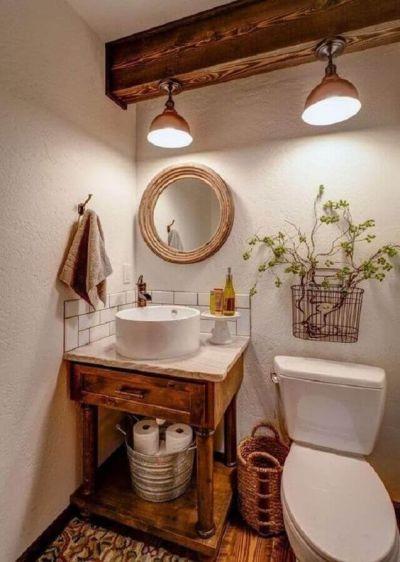 Decoração rústica no banheiro