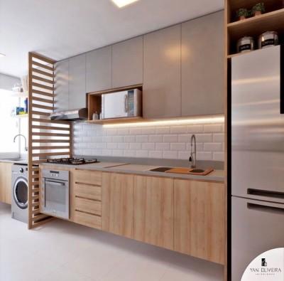 Painel de mdf dividindo a cozinha e área - Painel Vazado na Decoração