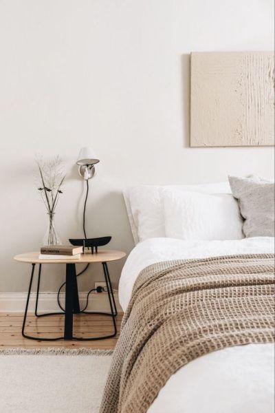 Decoração de quarto minimalista tons neutros