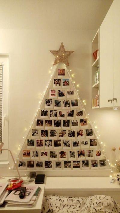 Decoração de Árvore de Natal com Fotos na Parede