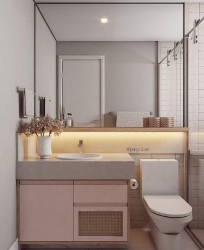 Modelo de banheiro pequeno com cuba de sobrepor