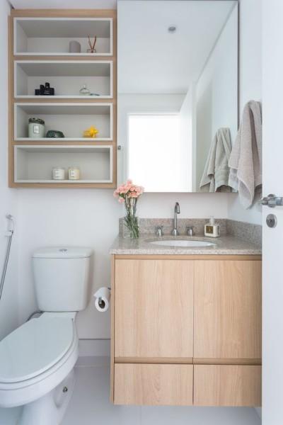 Banheiro pequeno decorado com cuba de embutir