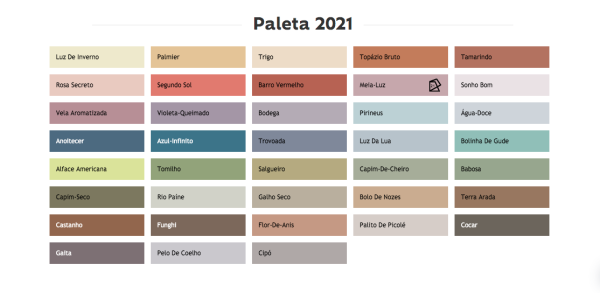 paleta de cores 2021 das tintas suvinil
