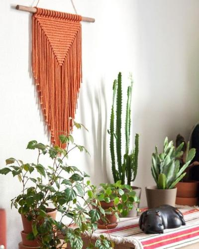 Parede decorada com macrame e plantas