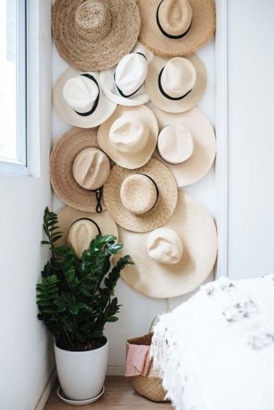 Parede decorada com chapéus e planta no chão