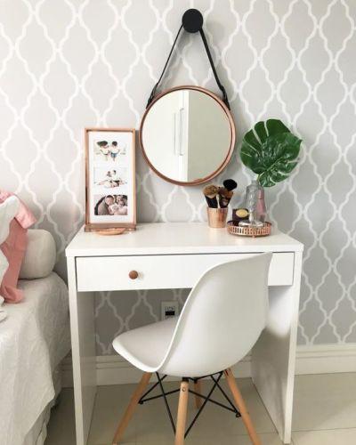 Penteadeira simples branca com espelho adnet