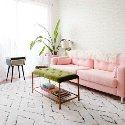 Sofá rosa claro com tapete bege e planta na sala