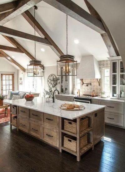 Cozinha rústica com decoração de conceito aberto