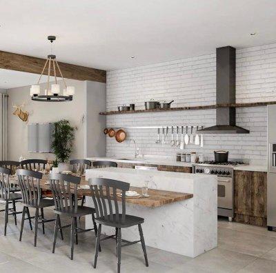 Decoração de cozinha rústica com ilha e bancada grande de madeira e cadeiras pretas
