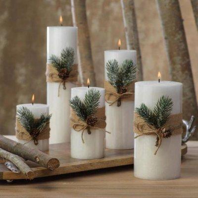 Enfeites com vela para mesa de Natal