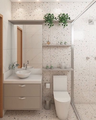 Banheiro pequeno com revestimento porcelanato granilite