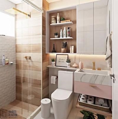 Decoração de banheiro pequeno tons claros