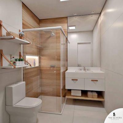 Decoração de Banheiro pequeno com revestimento porcelanato