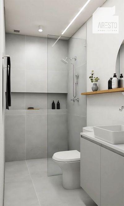 Decoração de banheiro pequeno minimalista cinza e branco