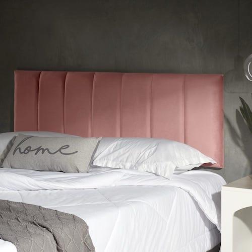 Cabeceira estofada rosa painel na parede