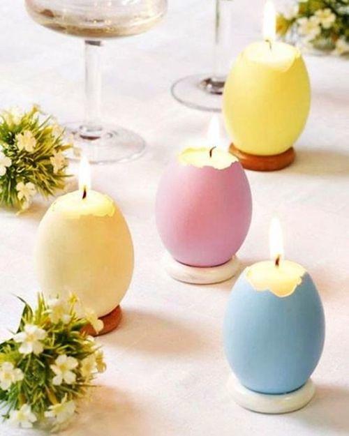 Ovos com vela para decorar mesa de Páscoa