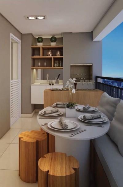 Apartamento com varanda gourmet pequena