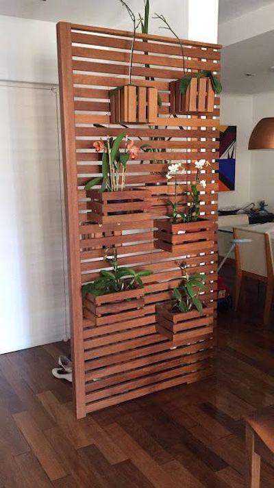 Painel vazado ripado suporte de plantas