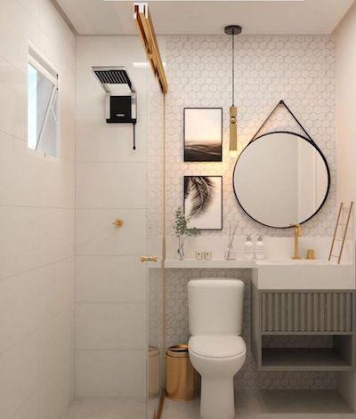 Projeto de Banheiro pequeno branco e cinza