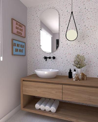 Revestimento Granilite na parede de lavabo