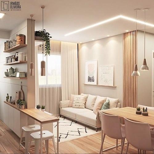 Sala pequena com cozinha integrada