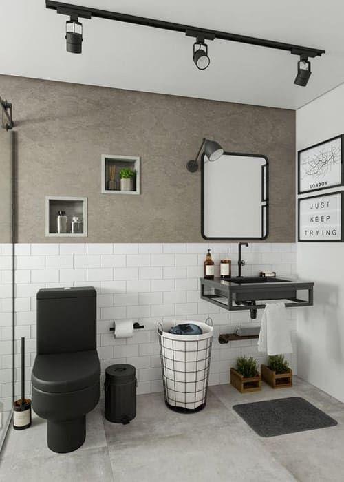 Banheiro preto e branco com decoração industrial