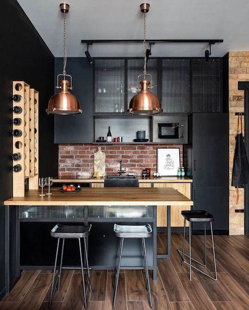 decoração industrial na cozinha preta