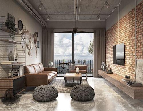 Decoração industrial na sala com parede de tijolinho e cimento queimado