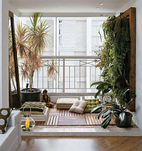 Espaço zen decorado na varanda