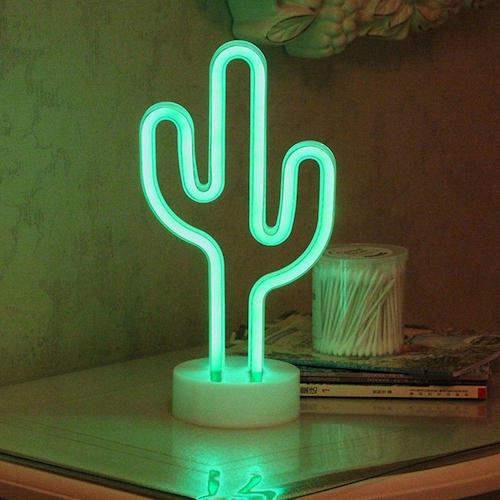 Luminária neon de cacto